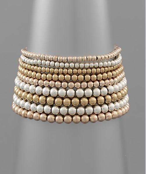 Eight Ball Beaded Bracelet Set- Tri Tone