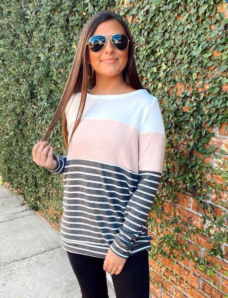 Soft Pink and Striped Top