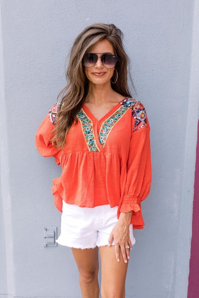 Right Here Red Embroidered Top