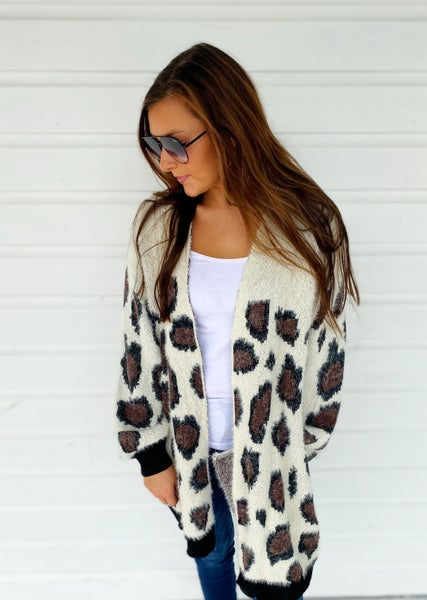 Let Go Leopard Fuzzy Cardigan *Final Sale*