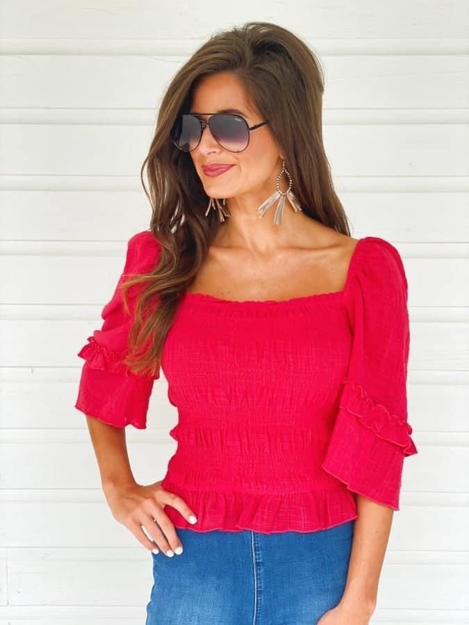 Vivian Red Smocked Top