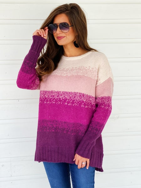 Plum Ombré Sweater