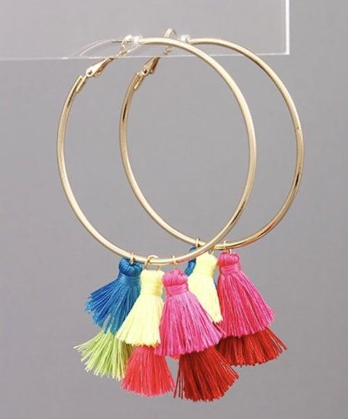 Vibrant Tassel & Hoop Earrings