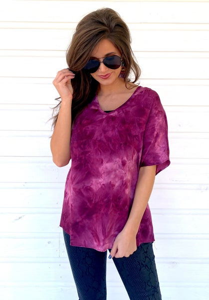 Grape Tie Dye Top *Final Sale*