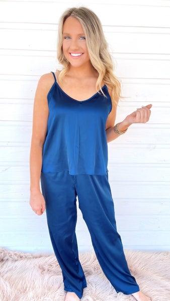 Beach Babe Navy Blue Satin Pajama Set