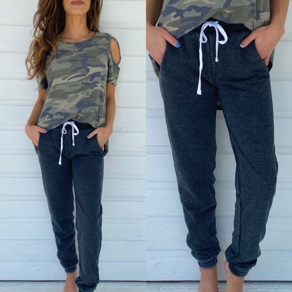 Charcoal Distressed Joggers