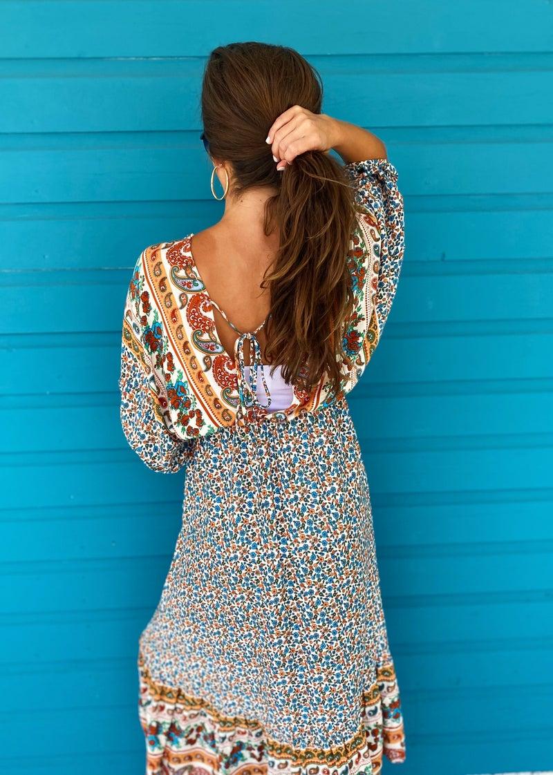 Maris Printed Dress- Cream