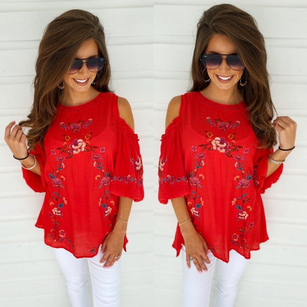 Raving Over Red Embroidered Top