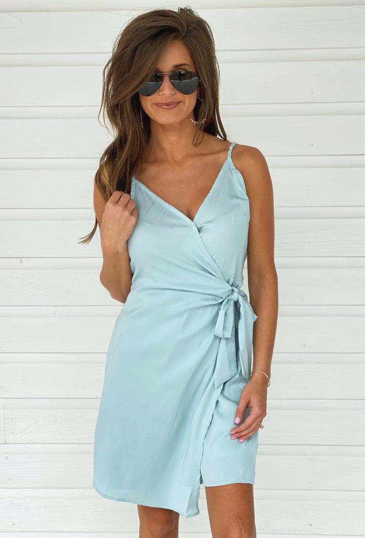Ice Blue Tie Dress