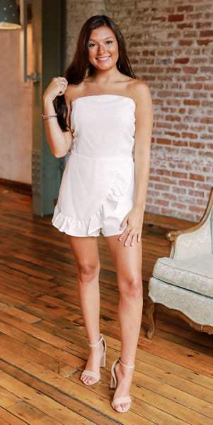 Be There White Strapless Romper