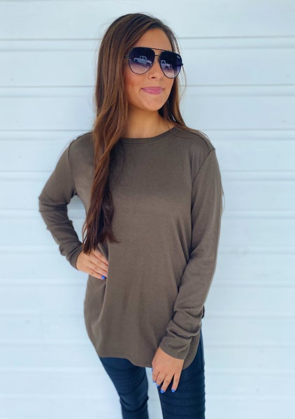 Sadie Side Slit Top- Olive