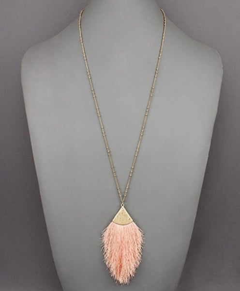 Hammered Gold & Blush Tassel Necklace