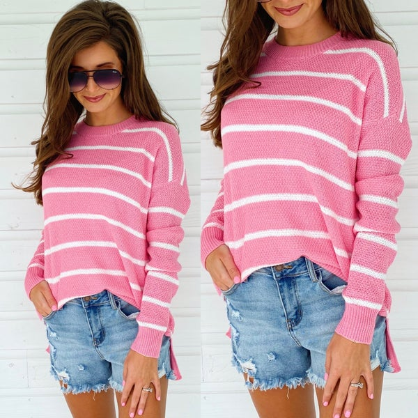 Candy Pink Striped Sweater