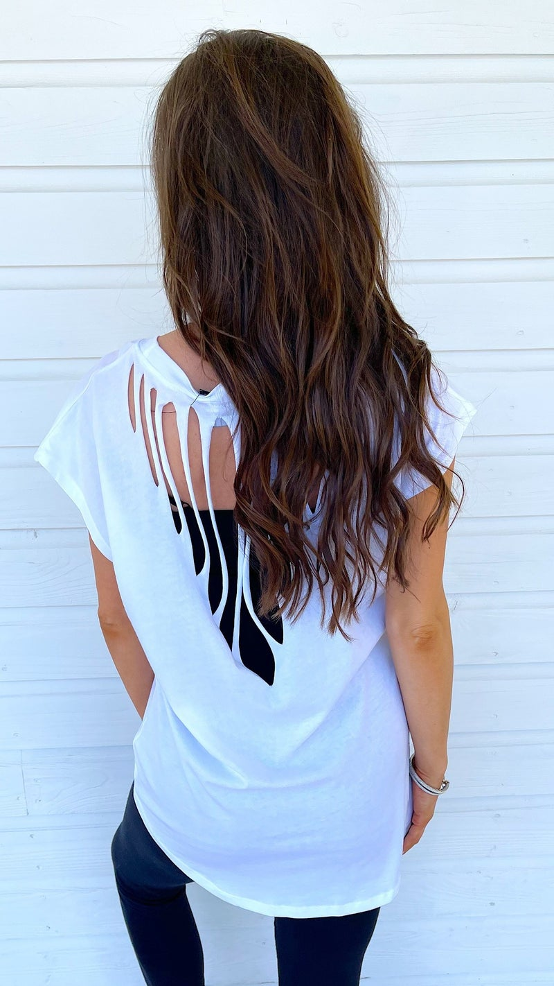 Confidence Is In Cut Out Top- White