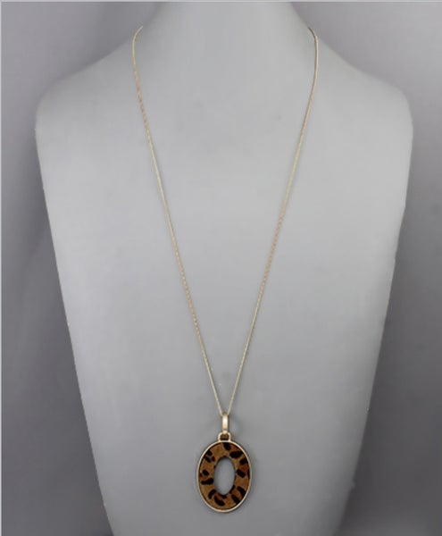 Leah Cowhide Oval Necklace- Leopard