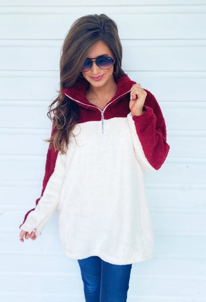 Basically Burgundy Color Block Pullover