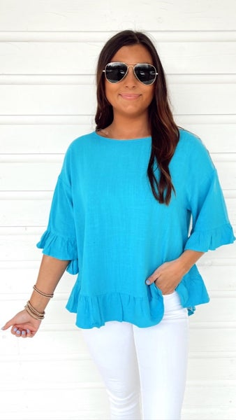 Everyday in Teal Blue Top