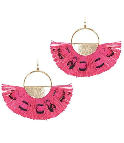 Fuchsia Feather Fan Earrings