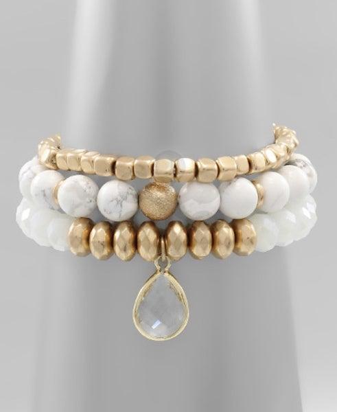 Ivory Stone & Glass Beaded Bracelet