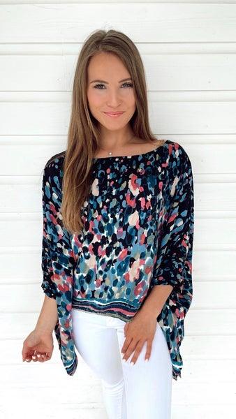 Marcy Multicolored Top- Black