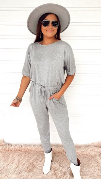 Stealing Hearts Gray Jumpsuit