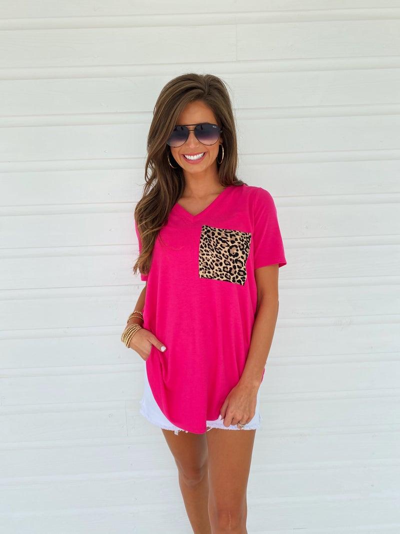 Leopard Pocket Top- Pink
