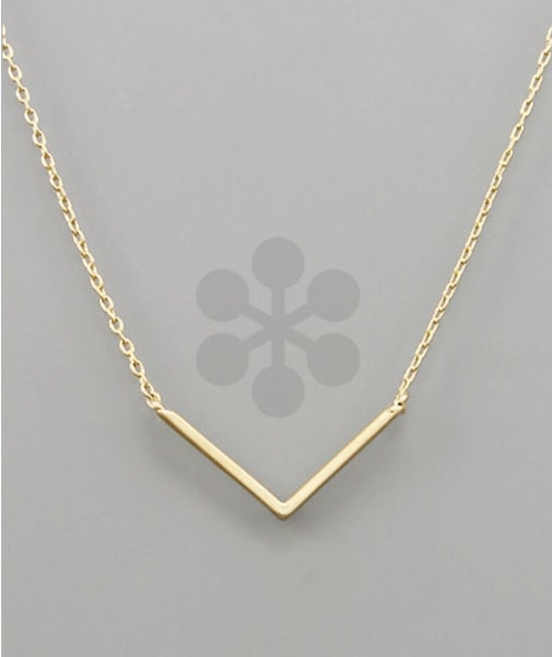 V Pendant Necklace- Gold