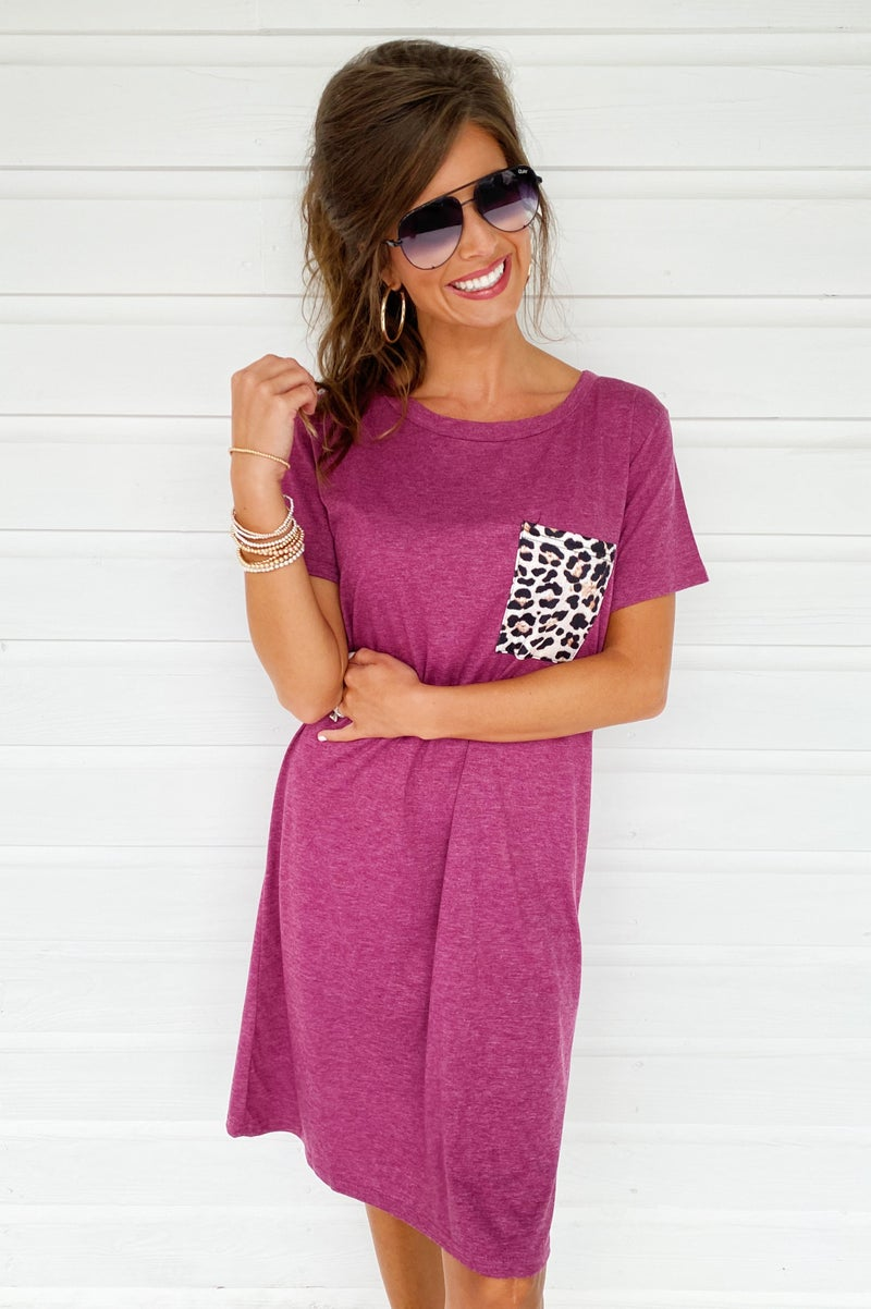 Good Days Pocket Dress- Burgundy