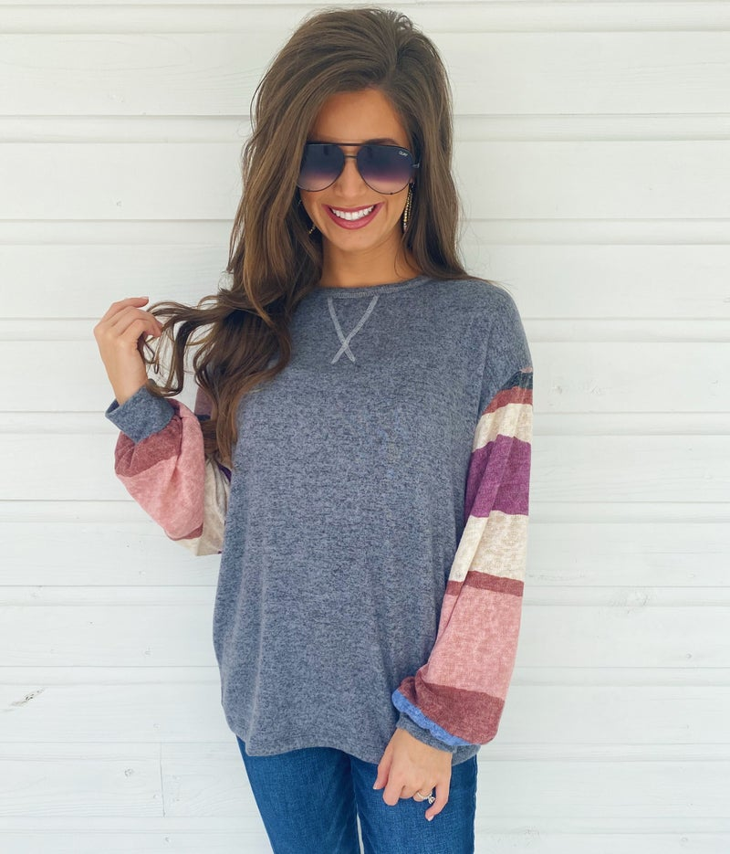 Chandler Charcoal and Striped Top