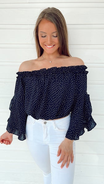 Charming in Navy Off Shoulder Top