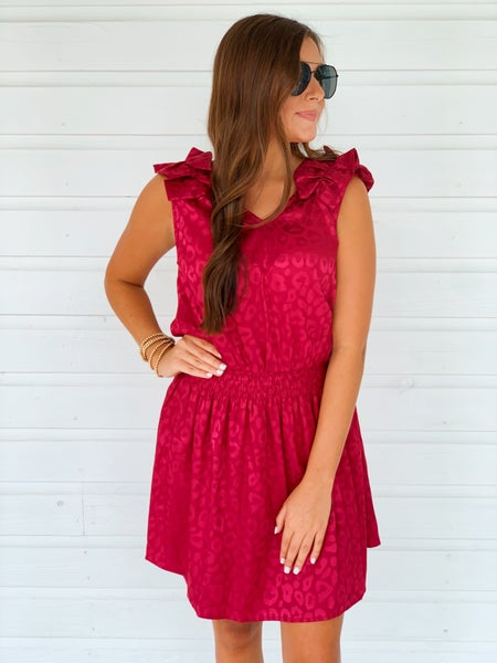 Eliza Leopard Dress- Burgundy