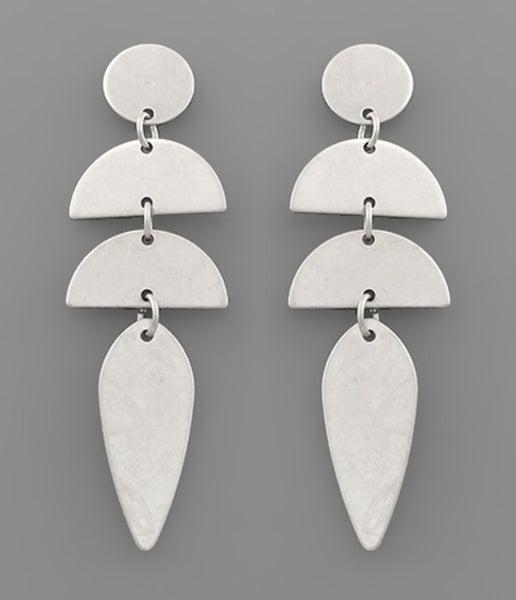 So Silver Geometric Link Earrings