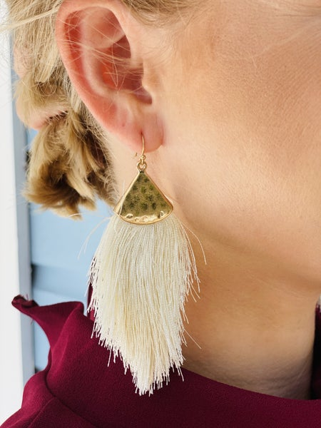 Ivory and Gold Tassel Earrings