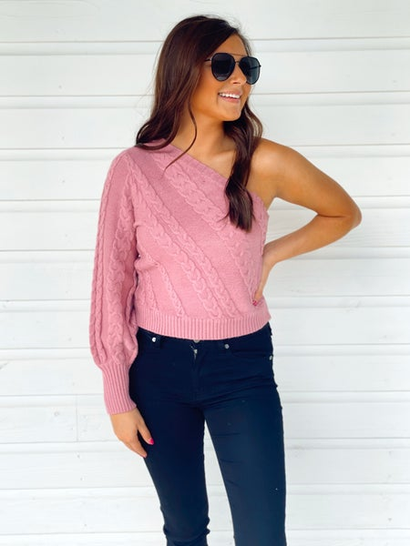 Take Me Out One Shoulder Sweater - Mauve