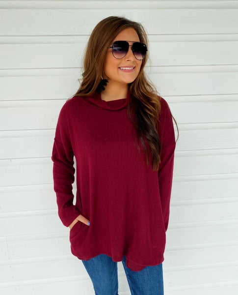 Britta Turtleneck Top - Burgundy