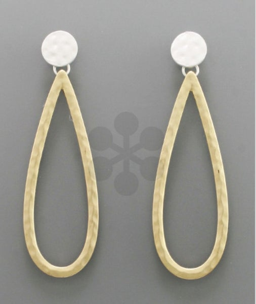 Silver & Gold Matte Teardrop Earrings