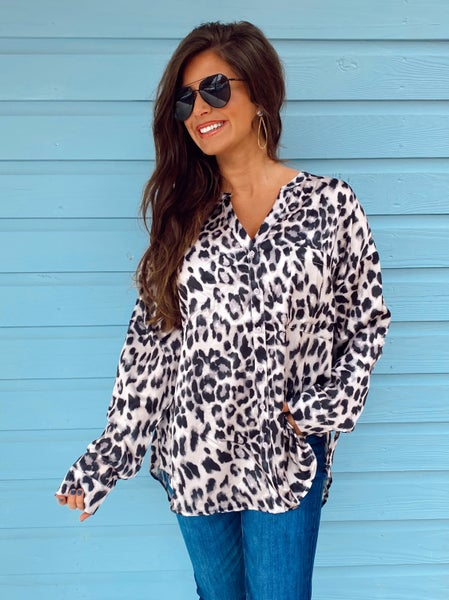 Leopard Satin Button Up Top *Final Sale*