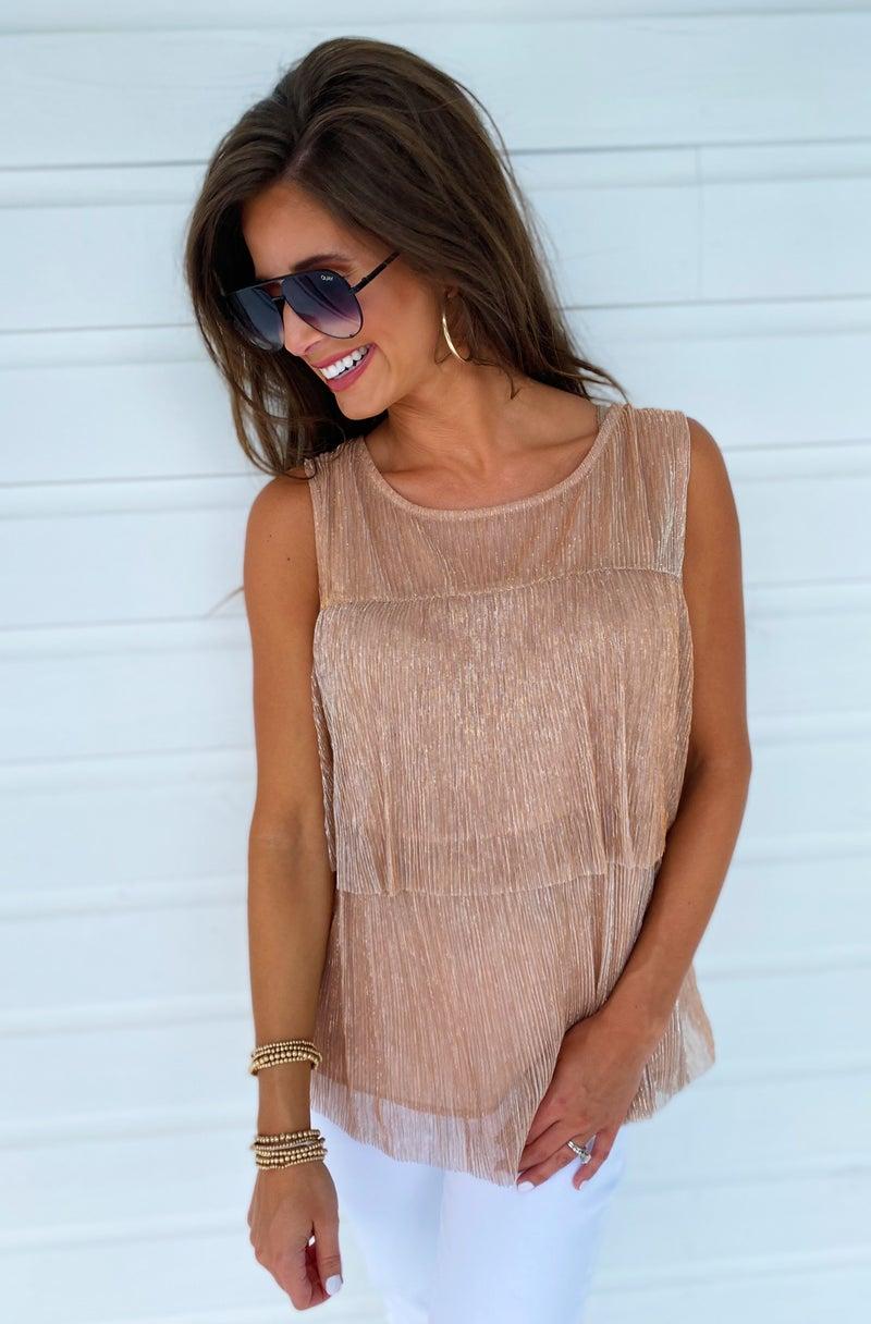 Kylie Shimmer Top- Rose Gold