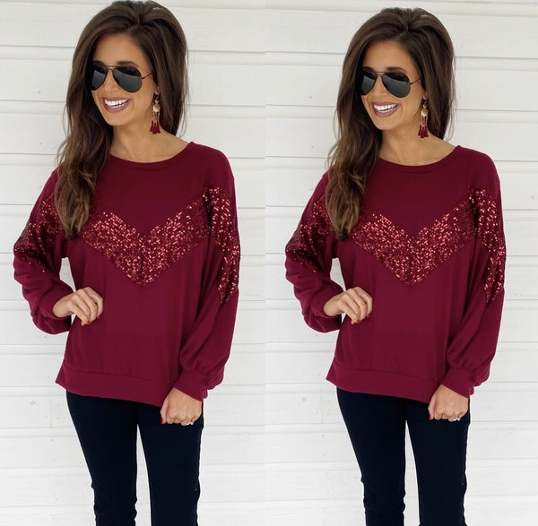 Bailey Burgundy Sequin Top