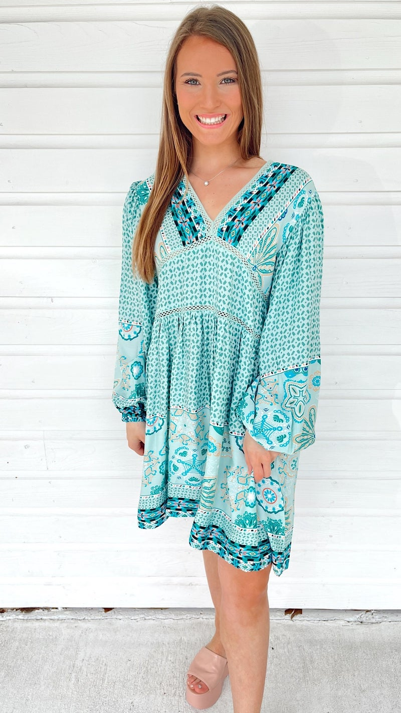 Make Time For Mint Printed Dress