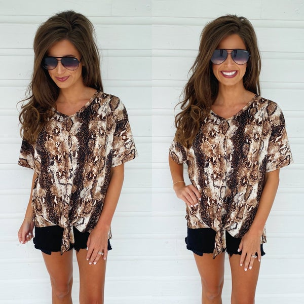Brown Python Printed Top
