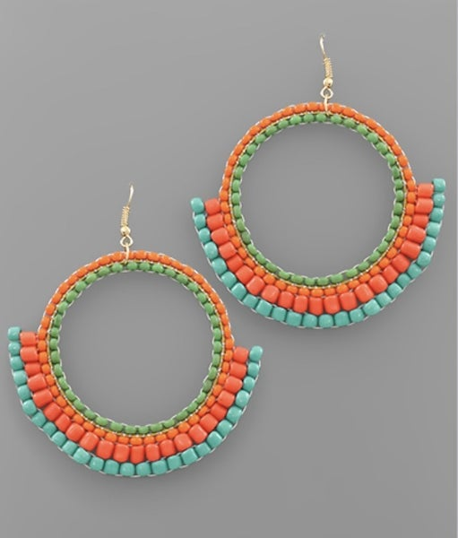 Bright Vibes Circle Beaded Earrings