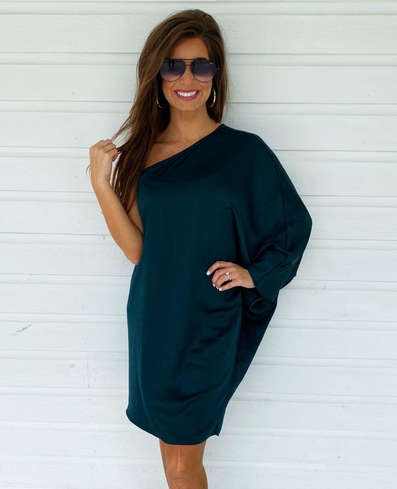 Hadley Hunter Green One Shoulder Dress