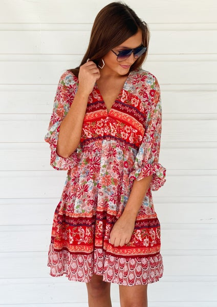 Right Now Red Floral Dress