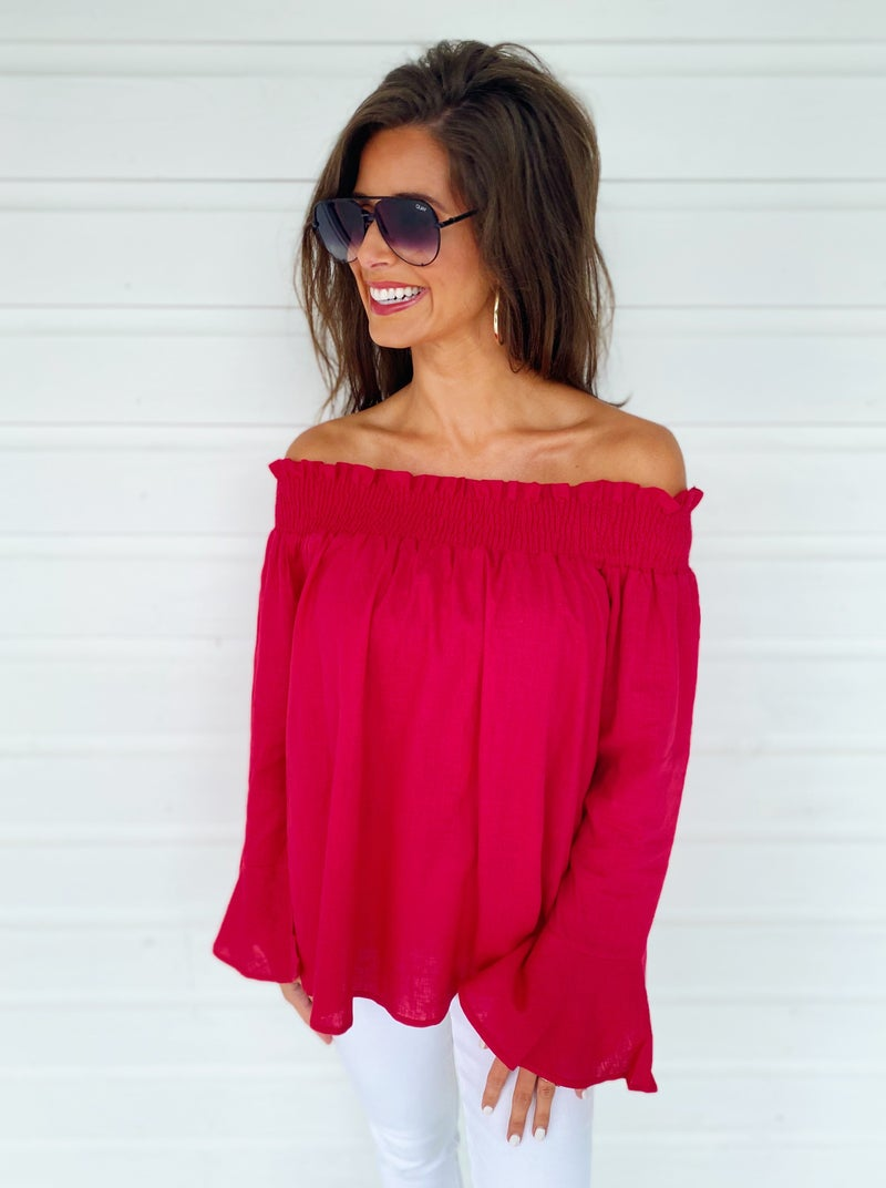 Rosalie Red Off Shoulder Top