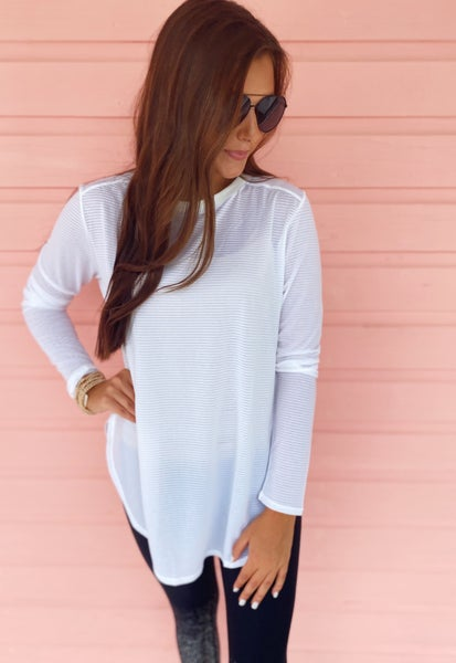 White Ribbed Long Sleeve Top