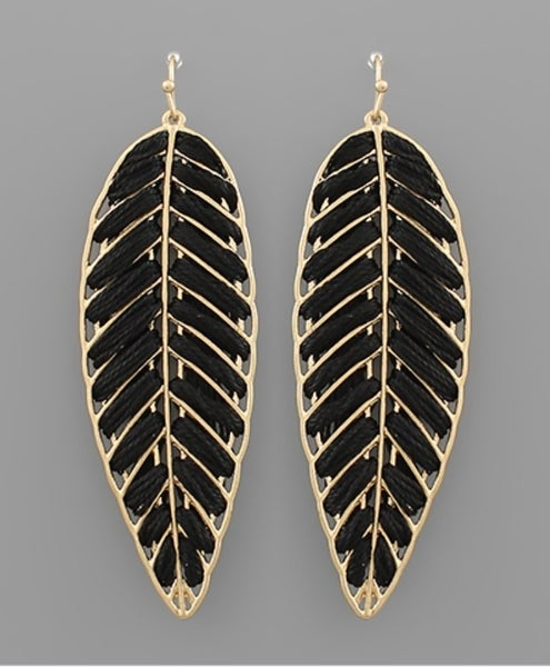 Thrilling Threaded Leaf Earrings- Black