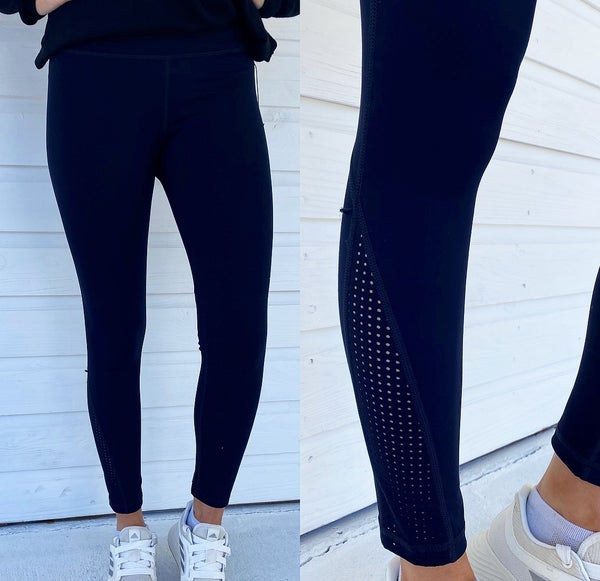 Black Athletic Leggings With Cut Outs
