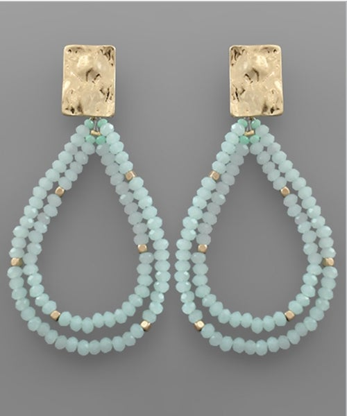 Double The Style Beaded Teardrop Earrings- Mint