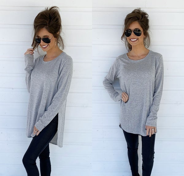 Grey Side Slit Long Sleeve Top